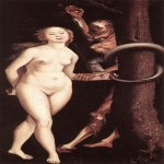 Hans Baldung (1484-1545)  Eve, the Serpent, and Death  Oil on panel, 1510-1512  National Gallery of Canada, Ottawa