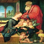 Hans Baldung (1484-1545)    Holy Family in the chamber with five angels    Oil on wood, 1507    73,1 × 55,8 cm    Collection Heinz Kisters,  Kreuzlingen (Switzerland)