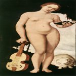 Hans Baldung (1484-1545)  Music  Oil on pine panel, 1529  59 3/8 x 24 inches (151 x 61 cm)  Alte Pinakothek, Munich