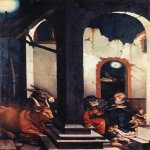 Hans Baldung (1484-1545)  Nativity  Oil on wood, 1520  41 1/2 x 27 5/8 inches (105.5 x 70.4 cm)  Alte Pinakothek, Munich