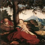 Hans Baldung (1484-1545)  Rest on the Flight to Egypt  Oil on wood, 1514  19 x 15 1/8 inches (48.5 x 38.6 cm)  Germanisches Nationalmuseum, Nuremberg