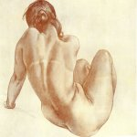 Alexander Alexandrovich Deyneka (1899-1969)  Naked girl  Sangina, black pencil, 1951  Drawing