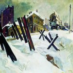 Alexander Alexandrovich Deyneka (1899-1969)  Outskirts of Moscow. November 1941  Oil on canvas, 1941  92 x 136 cm  The State Tretyakov Gallery, Moscow, Russia