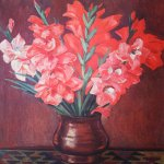 Alexander Alexandrovich Deyneka (1899-1969)  Pink gladioluses  Oil on canvas, 1953  77x60 sm  Cursk picture gallery of a name of A.A. Deineka, Kursk, Russia