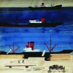 Alexander Alexandrovich Deyneka (1899-1969)  Port of ships  Paper, pencil, gouache and ink, 1929-1930  Kursk public art gallery to  A.A. Deineka, Kursk, Russia