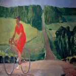 Alexander Alexandrovich Deyneka (1899-1969)  The farmer on a bicycle  Oil on canvas, 1935  120x220 sm  The State Russian Museum, St. Petersburg, Russia