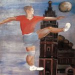 Alexander Alexandrovich Deyneka (1899-1969)  The football player  Oil on canvas, 1932  116.5�91.5 sm  Cursk picture gallery of a name of A.A. Deineka, Kursk, Russia