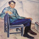 Alexander Alexandrovich Deyneka (1899-1969)  The portrait of K. Vjalov  Oil on canvas, 1923  117x89 sm  Cursk picture gallery of a name of A.A. Deineka, Kursk, Russia