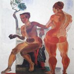 Alexander Alexandrovich Deyneka (1899-1969)  Two models  Oil on canvas, 1923  72x57 sm  Cursk picture gallery of a name of A.A. Deineka, Kursk, Russia