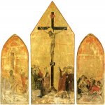 Duccio di Buoninsegna (c. 1255-1260 – c. 1318-1319)  Crucifixion Triptych  Gold and tempera on panel, about 1295-1310  48 x 20 cm (left wing), 53 x 28 cm (central panel), 48 x 20 cm (right wing)  Museo della Societa di Esecutori di Pie Dispozisioni, Siena