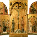 Duccio di Buoninsegna (c. 1255-1260 – c. 1318-1319)  Crucifixion Triptych  Gold and tempera on panel, about 1300  44.9 x 31.4 cm (central panel), 44.8 x 16.9 cm (side panels, each)  Property of Her Majesty Queen Elizabeth II