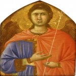 Duccio di Buoninsegna (c. 1255-1260 – c. 1318-1319)  Angel  Gold and tempera on panel, about 1308-1309  24 x 17 cm  Museum of Art, Philadelphia, USA