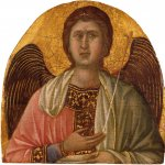 Duccio di Buoninsegna (c. 1255-1260 – c. 1318-1319)  Angel  Gold and tempera on panel, about 1308-1309  18.4 x 17.88 cm  Mount Holoyke College Art Museum, South Hadley, USA
