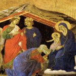Duccio di Buoninsegna (c. 1255-1260 – c. 1318-1319)  Maesta Altarpiece: Adoration of the Magi  Gold and tempera on panel, about 1308-1311  47.5 x 47.5 cm  Museo dell'Opera del Duomo, Siena, Italy