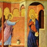 Duccio di Buoninsegna (c. 1255-1260 – c. 1318-1319)  Maesta Altarpiece: Annunciation  Gold and tempera on panel, about 1308-1311  43 x 44 cm  National Gallery, London, UK
