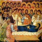 Duccio di Buoninsegna (c. 1255-1260 – c. 1318-1319)  Maesta Altarpiece: Death of the Virgin  Gold and tempera on panel, about 1308-1311  40 x 45.5 cm  Museo dell'Opera del Duomo, Siena, Italy