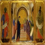 Duccio di Buoninsegna (c. 1255-1260 – c. 1318-1319)  Maesta Altarpiece:  Presentation in the Temple  Gold and tempera on panel, about 1308-1311  42.5 x 43 cm  Museo dell'Opera del Duomo, Siena, Italy