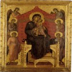 Duccio di Buoninsegna (c. 1255-1260 – c. 1318-1319)  Madonna and Child with Angels  Gold and tempera on panel, about 1282-1307  31.3-31.5 x 23.3-22.8 cm  Kunstmuseum, Bern,Switzerland