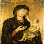 Duccio di Buoninsegna (c. 1255-1260 – c. 1318-1319)  Madonna and Child  Gold and tempera on panel, about 1284-1286  89 x 60 cm  Museo dell'Opera del Duomo, Siena, Italy