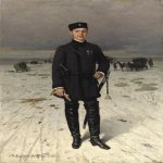 Nikolai Dmitriyev-Orenburgsky (1837 - 1898)   Portrait of a Russian volunteer  Oil on canvas  25 x 18 in. / 63.5 x 45.8 cm.  Private Collection