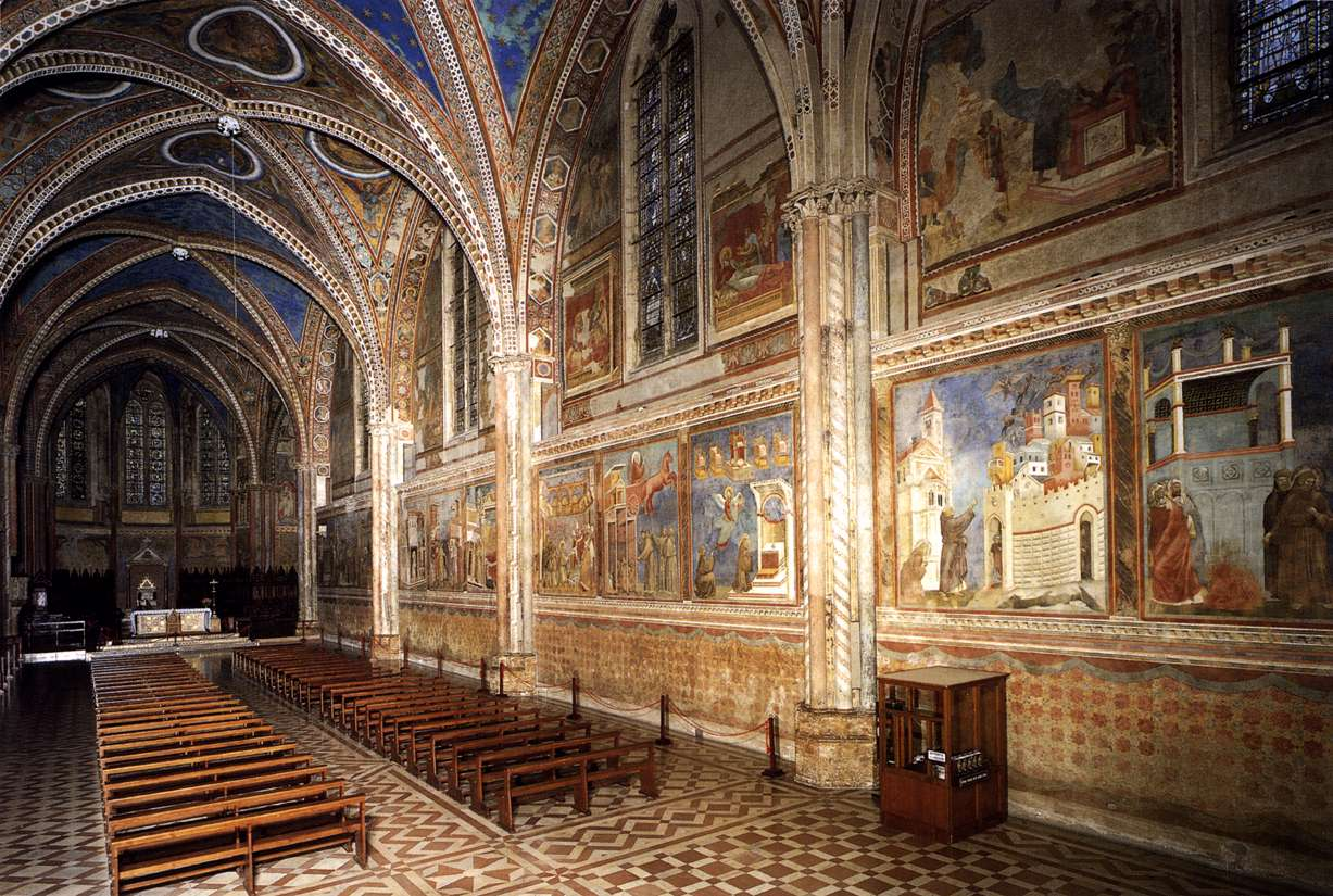 Giotto di Bondone (c. 1267 – January 8, 1337)  View of the interior towards the altar  Upper Church, San Francesco, Assisi, Italy