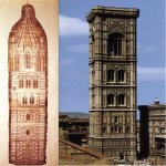 Giotto di Bondone (c. 1267 – January 8, 1337)  Design sketch for the Campanile, 1334  Parchment  Duomo, Florence