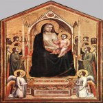 Giotto di Bondone (c. 1267 – January 8, 1337)  Ognissanti Madonna  Tempera on wood, c.1310  80 1/4 x 127 7/8 inches (204 x 325 cm)  Private collection