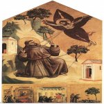 Giotto di Bondone (c. 1267 – January 8, 1337)  Stigmatization of St Francis  Tempera on wood, 1300  123 1/2 x 63 3/4 inches (314 x 162 cm)  Musée du Louvre, Paris, France