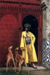 "Jean-Leon Gerome (Jean Leon Gerome) (1824-1904) An Arab and his Dogs Oil on canvas, 1875 37.5 x 55 cm (14.76"" x 21.65\"") Private collection"