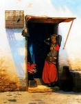 "Jean-Leon Gerome (Jean Leon Gerome) (1824-1904) Woman of Cairo at her Door Oil on canvas, 1897 67 x 82 cm (26.38"" x 32.28\"") Syracuse University Art Collection (Syracuse, New York, United States)"