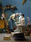 "Jean-Leon Gerome (Jean Leon Gerome) (1824-1904) The Artist's Model Oil on canvas, 1895 36.8 x 50.5 cm (14.49"" x 19.88\"") Dahesh Museum (New York City, New York, United States)"