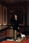 Jean-Leon Gerome (Jean Leon Gerome) (1824-1904) The Duc de La Rochefoucauld�Doudeauville with his Terrier Oil on canvas 36.2 x 50.8 cm (14¼