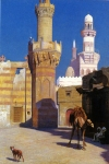 "Jean-Leon Gerome (Jean Leon Gerome) (1824-1904) Une Journee Chaud Au Caire (Devant La Mosquee) Oil on canvas 45.8 x 65.4 cm (18.03"" x 25¾\"") Private collection"
