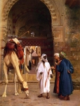 "Jean-Leon Gerome (Jean Leon Gerome) (1824-1904) Dispute D\'Arabes Oil on cradled panel 23.5 x 29.8 cm (9¼"" x 11.73\"") Private collection"