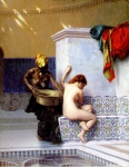 "Jean-Leon Gerome (Jean Leon Gerome) (1824-1904) Bain turc ou Bain maure (deux femmes) Oil on canvas, 1872 40.8 x 50.8 cm (16.06"" x 20\"") Private collection"
