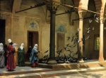 Jean-Leon Gerome (Jean Leon Gerome) (1824-1904) Harem Women Feeding Pigeons in a Courtyard Oil on canvas Private collection