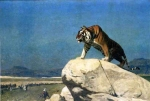 "Jean-Leon Gerome (Jean Leon Gerome) (1824-1904) Tiger on the Watch Oil on canvas 100 x 70 cm  (3\' 3.37"" x 27.56\"") Lost"
