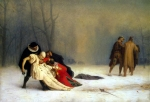 """Jean-Leon Gerome (Jean Leon Gerome) (1824-1904) Duel After a Masquerade Ball Oil on canvas, 1857 72 x 50 cm (28.35\"""" x 19.69\"""") Musee Conde (Chantilly, France)"""