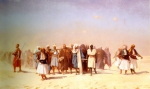 "Jean-Leon Gerome (Jean Leon Gerome) (1824-1904) Egyptian Recruits Crossing the Desert Oil on panel, 1857 109.8 x 64 cm (3\' 7.23"" x 25.2\"") Private collection"