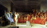 "Jean-Leon Gerome (Jean Leon Gerome) (1824-1904) Phryne before the Areopagus Oil on canvas 128 x 80 cm (4\' 2.39"" x 31½\"") Kunsthalle (Hamburg, Germany)"