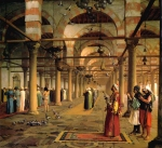 "Jean-Leon Gerome (Jean Leon Gerome) (1824-1904) Public Prayer in the Mosque of Amr, Cairo Oil on canvas, 1870 75 x 89 cm (29.53"" x 35.04\"") Private collection"