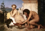 "Jean-Leon Gerome (Jean Leon Gerome) (1824-1904) The Cock Fight Oil on canvas, 1846 204 x 143 cm (6\' 8.31"" x 4\' 8.3\"") Musee d\'Orsay (Paris, France)"