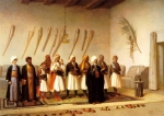"Jean-Leon Gerome (Jean Leon Gerome) (1824-1904) Prayer in the House of an Arnaut Chief Oil on canvas, 1857 92.25 x 66 cm (3\' .32"" x 25.98\"") Najd collection, Mathaf Gallery (London, United Kingdom)"