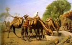 "Jean-Leon Gerome (Jean Leon Gerome) (1824-1904) Camels at the Trough Oil on canvas, 1857 119 x 73.6 cm (3\' 10.85"" x 28.98\"") National Gallery of Canada (Ottawa, Ontario, Canada)"