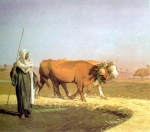 Jean-Leon Gerome (Jean Leon Gerome) (1824-1904) Treading out the Grain in Egypt Oil on panel, c1859 38.7 x 29.3 cm (15.24
