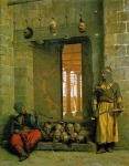 "Jean-Leon Gerome (Jean Leon Gerome) (1824-1904) Heads of the Rebel Beys at the Mosque of El Hasanein, Cairo Oil on panel, 1866 44.5 x 56 cm (17.52"" x 22.05\"") Forbes Magazine Collection (New York, New York, United States)"