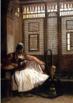 "Jean-Leon Gerome (Jean Leon Gerome) (1824-1904) Arnaut Smoking Oil on panel, 1865 24.2 x 35.3 cm (9.53"" x 13.9\"") Private collection"