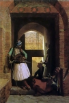 Jean-Leon Gerome (Jean Leon Gerome) (1824-1904) Arnauts of Cairo at the Beb enNasr Oil on panel, 1861 37.5 x 50 cm (14.76\&quot; x 19.69\&quot;) Private collection