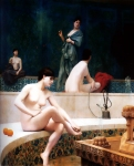 "Jean-Leon Gerome (Jean Leon Gerome) (1824-1904) A Bath, Woman Bathing Her Feet Oil on canvas, 1889 81.3 x 100 cm (32.01"" x 3\' 3.37\"") Private collection"