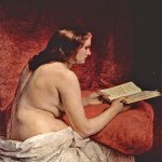 Francesco Hayez (1791-1882)  Odalisque with Book  Oil on canvas, 1866  92 × 75 cm (36.21 × 29.53 in)  Villa Carlotta, Tremezzo, Italy